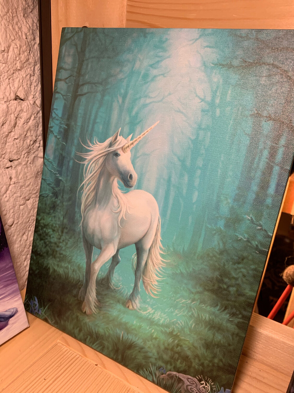 «Licorne magique» toile tendue sur cadre, Reproduction d'Anne Stokes , 25x19cm