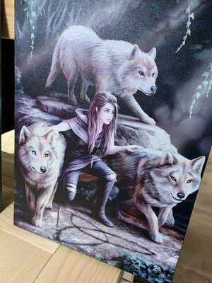 «Ma meute sauvage» toile tendue sur cadre, Reproduction d'Anne Stokes , 25x19cm
