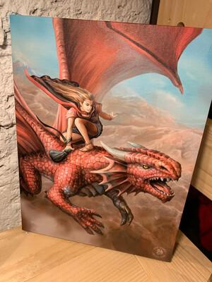 «Chevaucher le dragon» toile tendue sur cadre, Reproduction d'Anne Stokes , 25x19cm