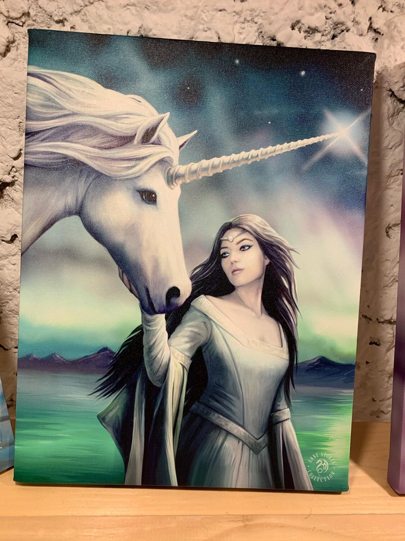 «Sirius» toile tendue sur cadre, Reproduction d'Anne Stokes , 25x19cm