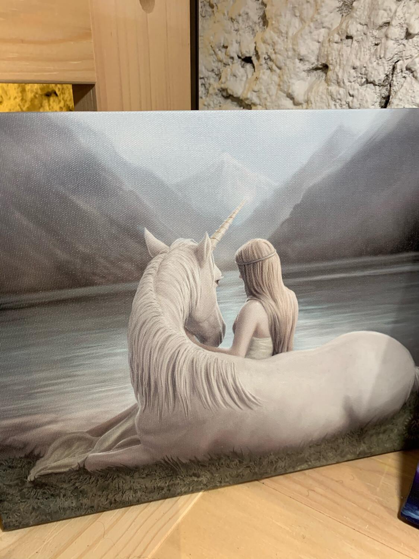 «La licorne et moi » toile tendue sur cadre, Reproduction d'Anne Stokes , 25x19cm