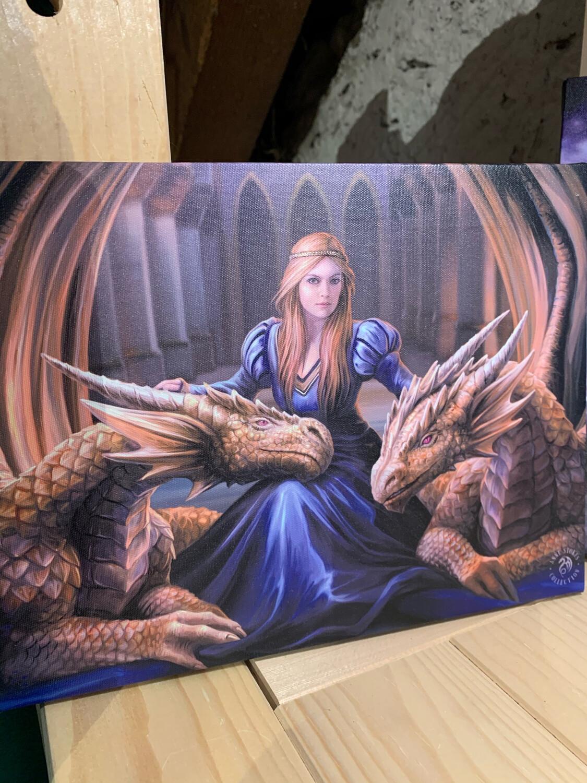 «Mère des dragons» toile tendue sur cadre, Reproduction d'Anne Stokes , 25x19cm