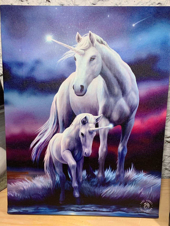 «Prendre soin de son enfant » toile tendue sur cadre, Reproduction d'Anne Stokes , 25x19cm