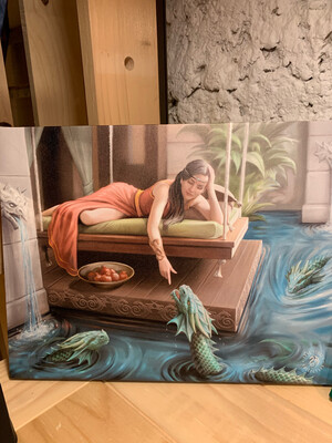 «Connaître sa puissance » toile tendue sur cadre, Reproduction d'Anne Stokes , 25x19cm