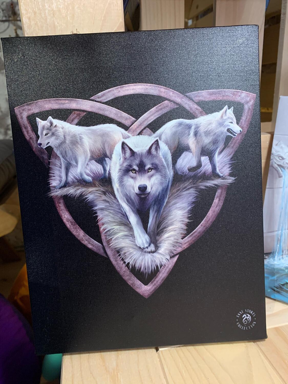 «Triskel du loup » toile tendue sur cadre, Reproduction d'Anne Stokes , 25x19cm