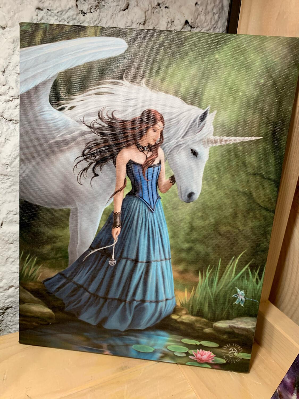 «Montre-moi le chemin » toile tendue sur cadre, Reproduction d'Anne Stokes , 25x19cm