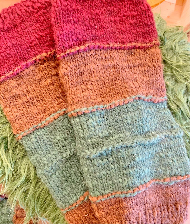 Guêtres tricolores en laine naturelle