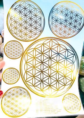 Autocollant fleur de vie diverses tailles, format feuille A4, doré