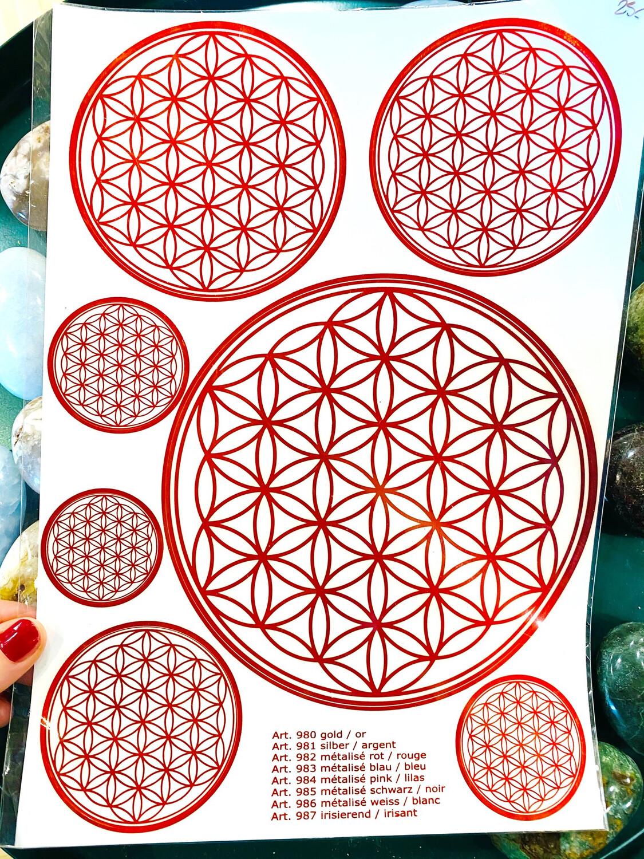 Autocollant fleur de vie diverses tailles, format feuille A4, rouge