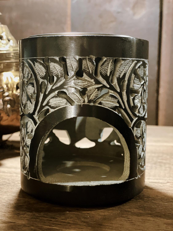 Encensoir noir à bougie (sans charbon) à volutes sculpté avec grille et soucoupe pour liquides