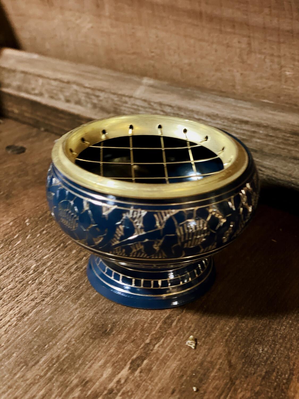 Petit encensoir à grille bleu foncé