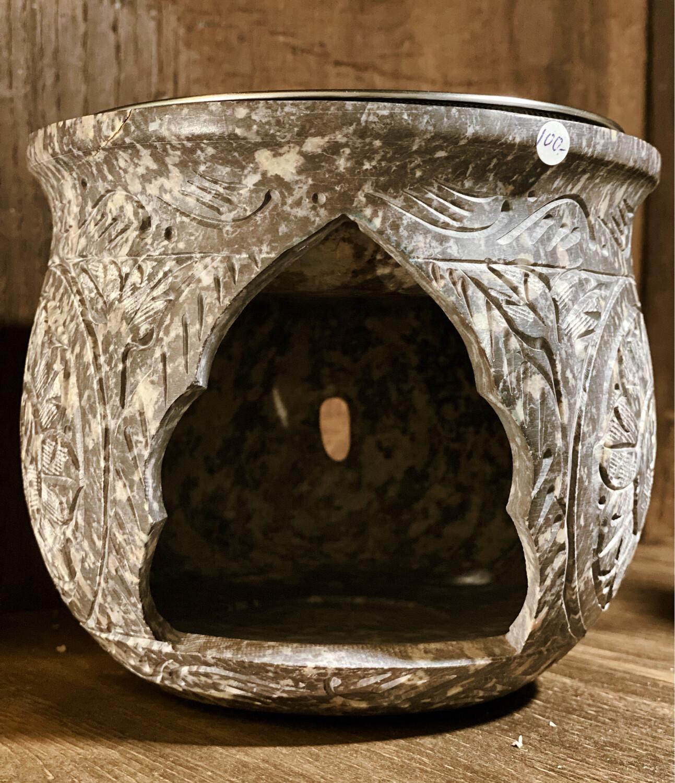 Encensoir à bougie (sans charbon) grand effet grotte sacrée, avec grille ou soucoupe pour liquides