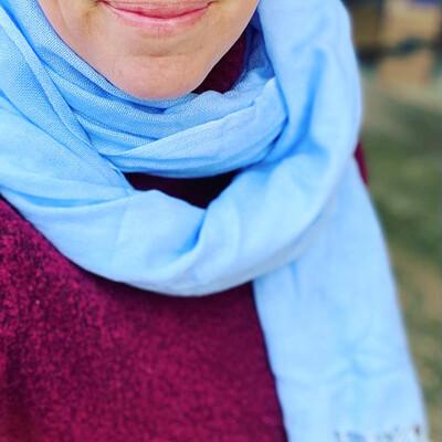 Pachmina 100% cachemire pour le Nepal couleur bleu ciel