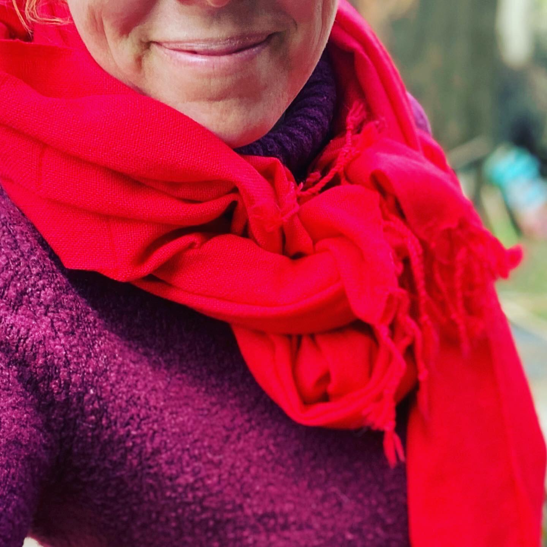 Pachmina 100% cachemire pour le Nepal couleur rouge
