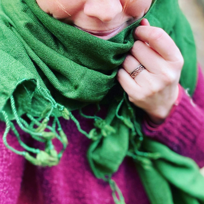 Pachmina 100% cachemire pour le Nepal couleur verte