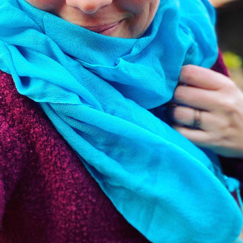 Pachmina 100% cachemire pour le Nepal couleur turquoise