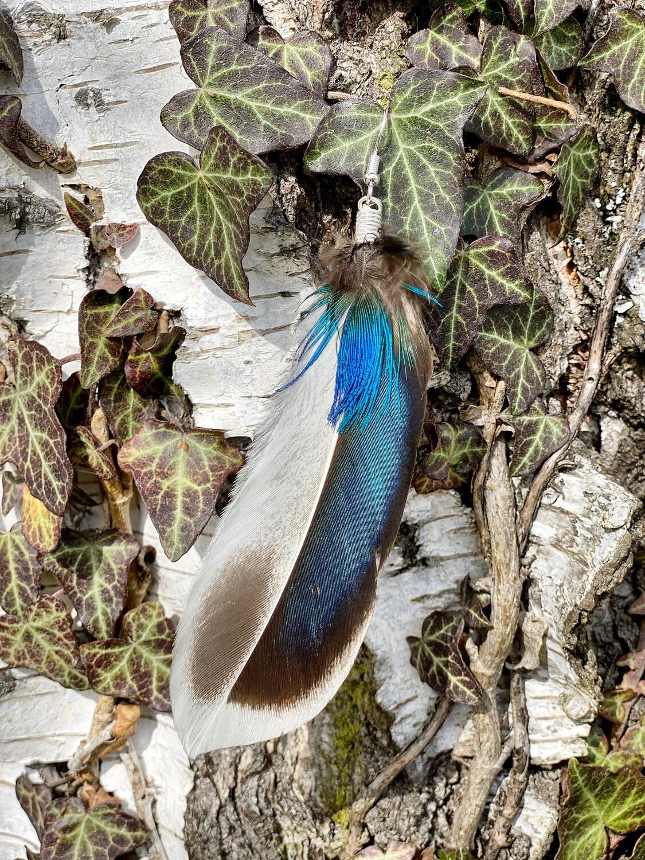 Boucle d'oreille en plumes avec fermoir en argent 925 «esprit de l'eau»