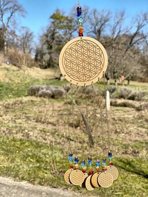 Suspension d'harmonisation (sans son) fleur de vie en bois
