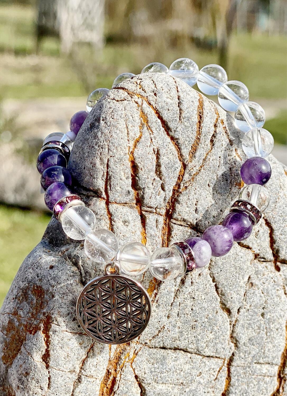 Bracelet Fleur de vie avec amethyste et cristal de roche
