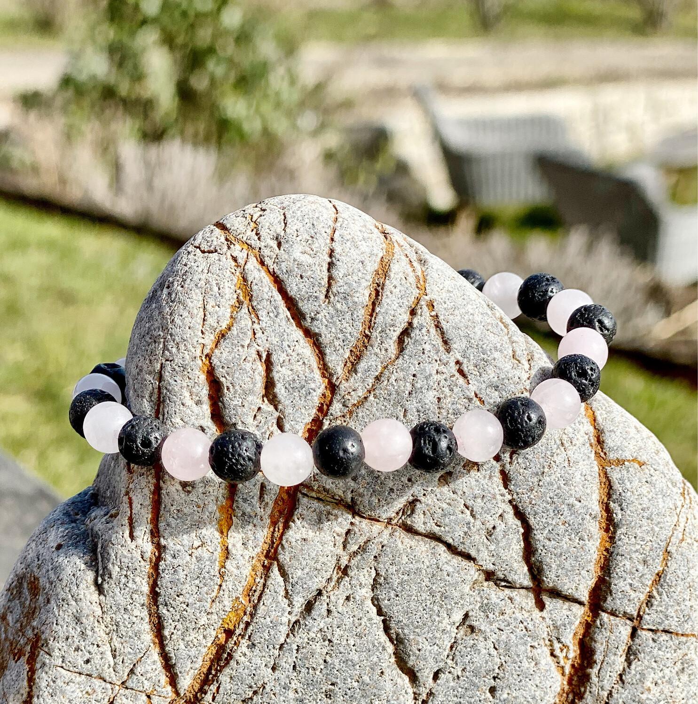 Bracelet «transformation émotionnelle» quartz rose et pierre de lave