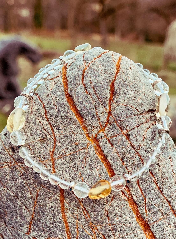 Bracelet «corps de féeno 3» minceur et détox avec cristal de roche et citrine