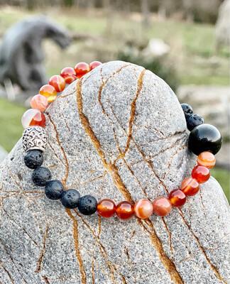 Bracelet «amour sensuel» avec cornaline, obsidienne dorée et pierre de lune