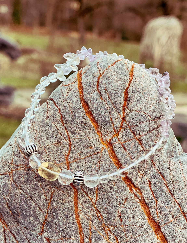 Bracelet «corps de féeno 7» minceur et détox avec fluorite, cristal de roche et citrine