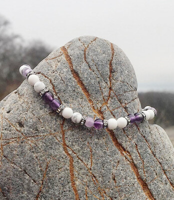 Bracelet « corps de fée no 20» minceur et détox avec magnésite, amethyste et fluorite