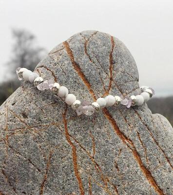Bracelet « corps de fée no 21» minceur et détox avec magnésite et amethyste