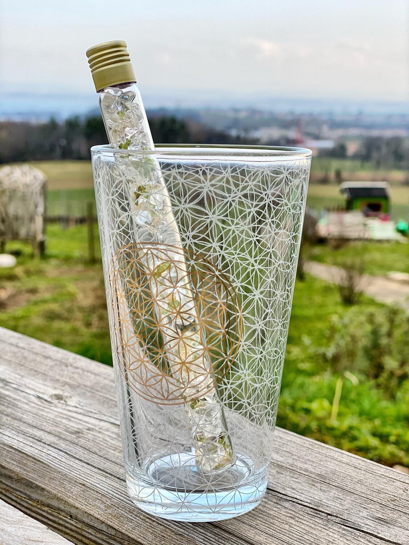 Kit «detox» verre fleur de vie + baguette Litho