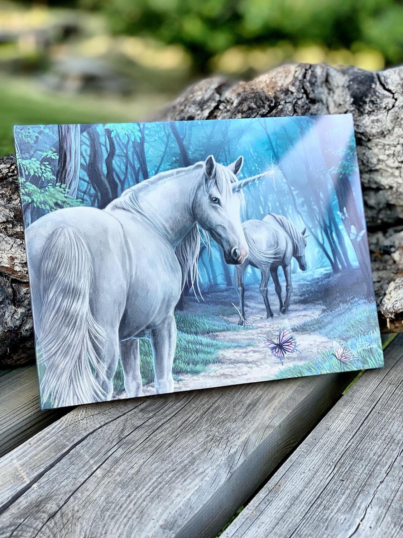 «Protégée par la licorne » toile tendue sur cadre, Reproduction d'Anne Stokes , 25x19cm