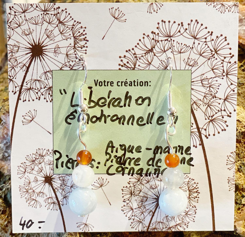 «Libération émotionnelle» aigue marine, Pierre de lune blanche, cornaline