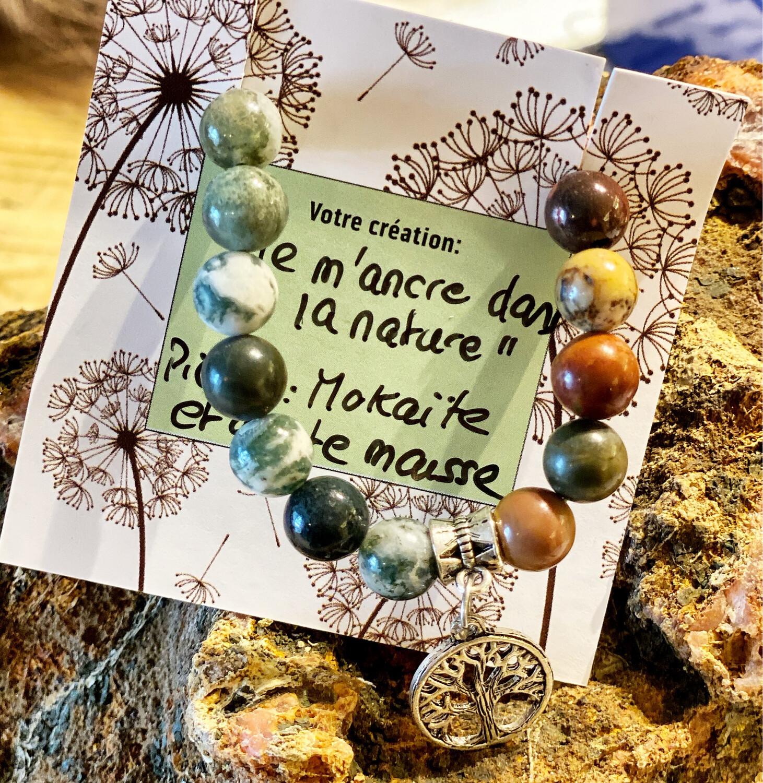 Bracelet «je m'ancre dans la nature» Mokaïte et agate mousse
