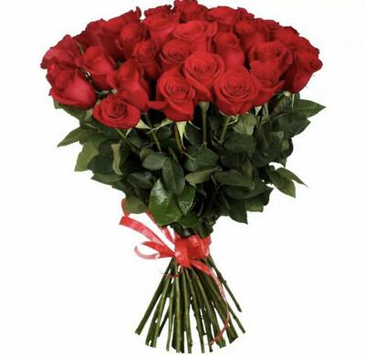 """Букет из 25 роз """"Фридом"""" 90 см высотой"""