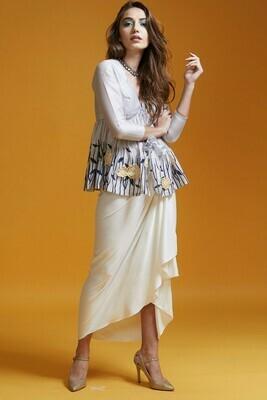 Block Printed Short Jacket And Draped Dhoti Skirt Or Wide Legged Trouser