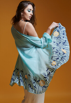 Printed Jacket With Bustier & Draped Skirt