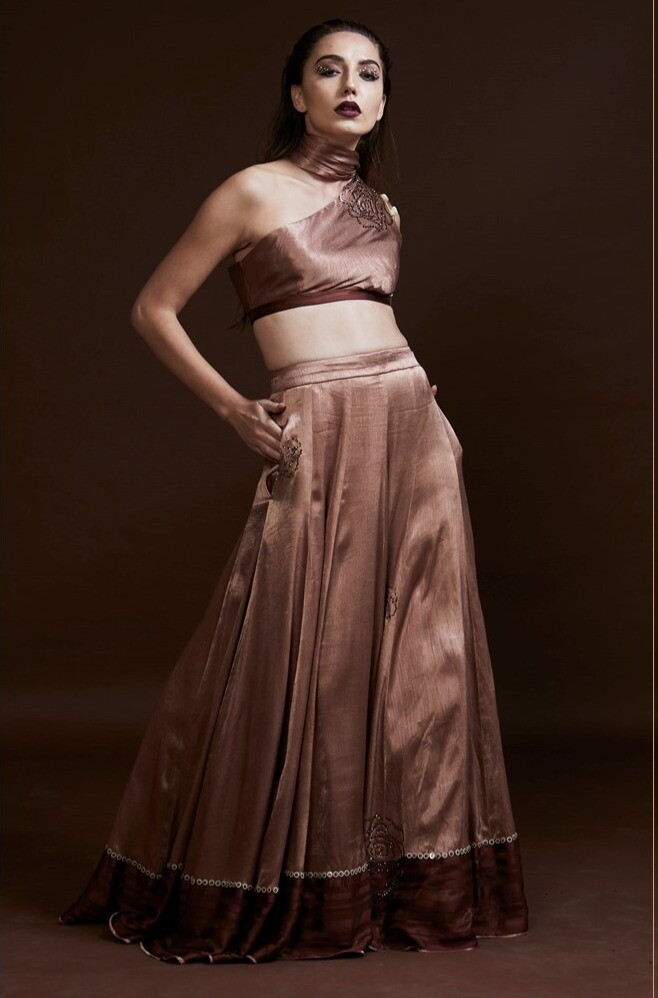 Swarovski And Sequins Embroidered  Lehenga with Draped Blouse
