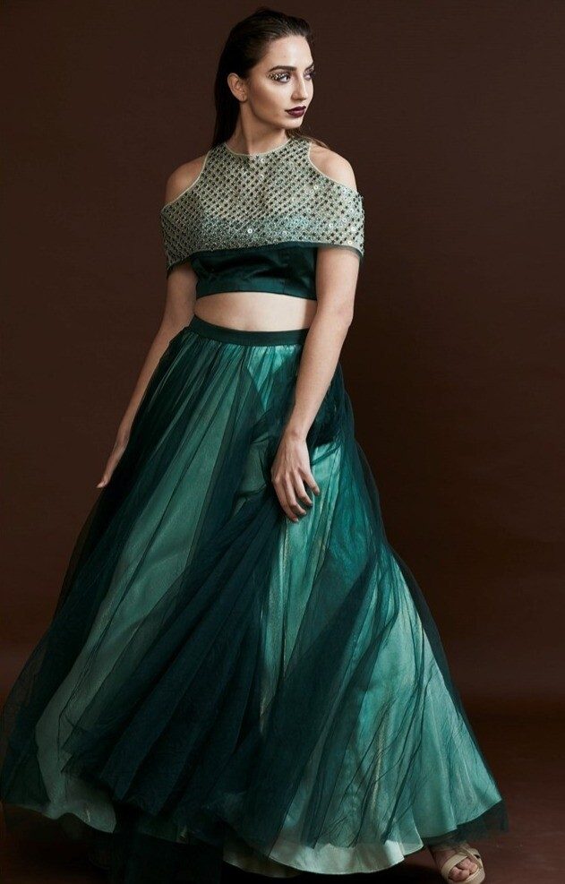 Tulle Skirt With a Bustier and Sequins Embroidered Cape