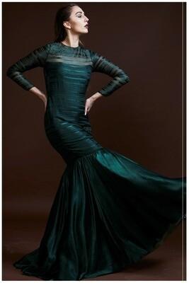 Silk Satin Gown With Swarovski Details