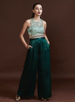 Sequinned Crop Top and Pleated Trousers