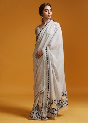 Printed Cotton Sari with Resham Embroidered Flowers