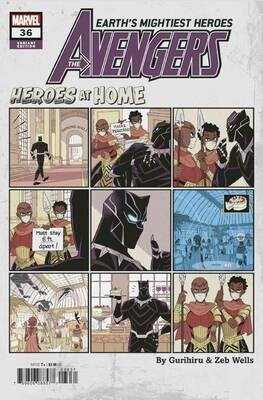 AVENGERS #36 BLACK PANTHER HEROES AT HOME VARIANT