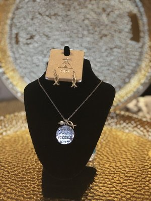 """""""With God All Things Are Possible"""" necklace and earrings set"""