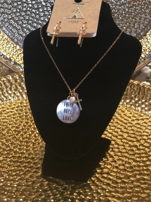 """Faith, Hope, Love"" necklace and earrings set"