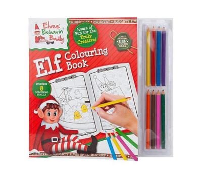Elf Colouring Book With 8 Mini Pencils