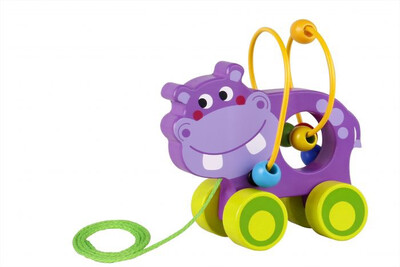 Wooden Pull Along Hippo With Beads