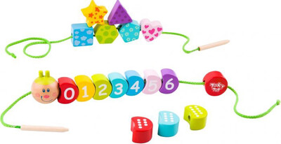 Wooden Lacing Caterpillar With Numbers