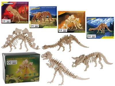 Dinosaur Wooden 3D Puzzle 4 Assorted