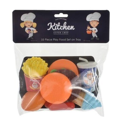 10 Piece Play Food Set And Tray