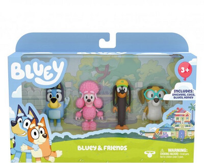 Bluey & Friends 4 Figure Pack